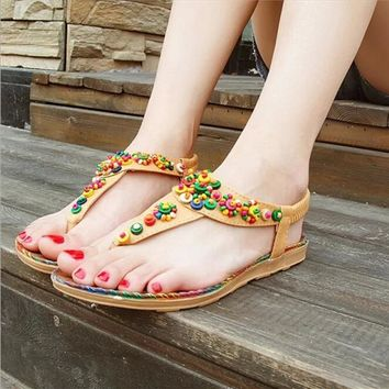 Women Sandals 2016 36-40 Comfort Sandals Women Summer Bohemia String Bead Fashion Flat Plus Size Sandals
