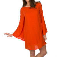 Buddy Love Ava Open Shoulder Long Sleeve Top - Tangerine