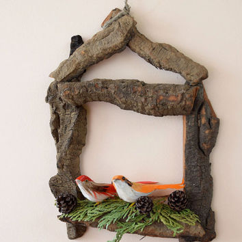 Bird house decoration-Wall window door home decor-Rustic-Nursery decor-Cottage Country chic decor-wall hanging-Birds Nest-Wedding decor-bark