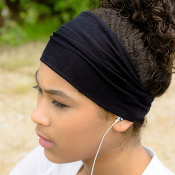 X-LARGE Black Headband Running Headband Sport Wrap Headscarf Knit Stretch Runners Wrap Head Wrap Solid (Item 1101)