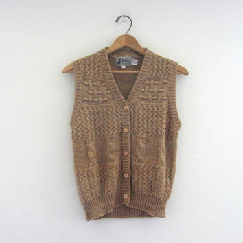 Vintage knit sweater vest. crocheted sweater cardigan // women's size M
