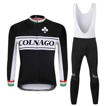 Colnago Winter Thermal Fleece Cycling Sets Super Warm Bicycle Thermal Jersey Bib Pants MTB Racing Clothing Cycle Wear