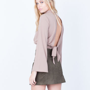 Back Tie Cropped Blouse