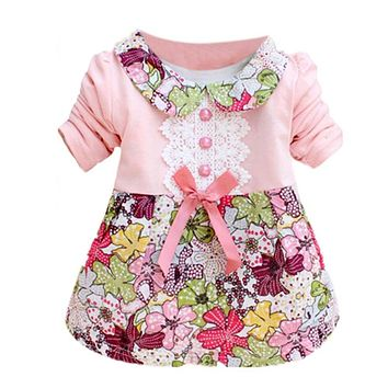 Toddler Baby Girls Floral Princess Dress Bow One Piece Kids Dress 0-2Y L07