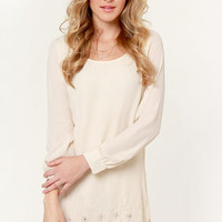 Rise from the East Beaded Cream Dress