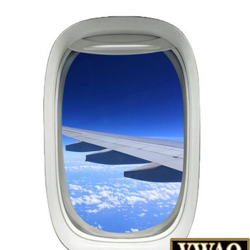 Airplane Window Decal Wing View Sky Clouds Mural Peel and Stick Aviation Decor A02