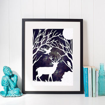 Forest Wall Art - Cut Paper Designs - Stag Decor - Woodland Scene - Country Wall Art - Deer Wall Art - Woodland Decor - Creative Paper Art