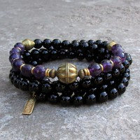 108 Bead Mala Necklace, Onyx and Amethyst Wrap Bracelet or Necklace with African Trade Beads