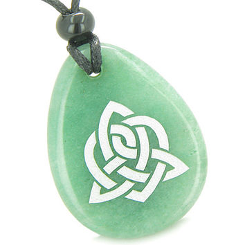 Amulet Triple Energy Celtic Triquetra Knot Green Quartz Pendant Necklace
