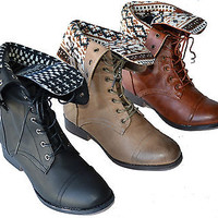 Sharper-1 Women's Mid Calf Foldable Collar Fashion Combat Boot Lace Up Low Heel