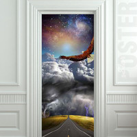 Door STICKER tempest storm eagle fantasy space road mural decole film self-adhesive poster 30x79inch(77x200 cm)