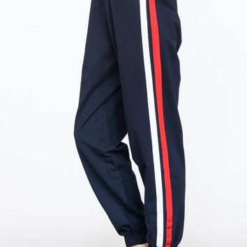 Long Jogger Pants with Side Stripe Details - Navy