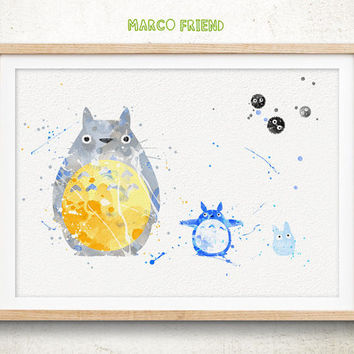 My Neighbor Totoro - Watercolor, Art Print, Home Wall decor, Japanese Animation, Hayao Miyazaki Totoro Poster