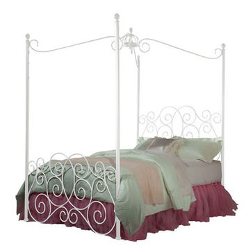 Standard Furniture Princess Canopy Bed in White Metal