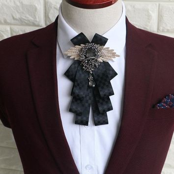 Fashion Mens Vintage Wedding Groomsmen Bow Flower Collar England Men's Business Suits Bowknots Tie