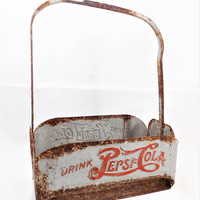 Metal Pepsi Carrier, Pepsi Cola, Vintage Collectible, 1940s, Rusty Crusty
