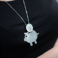 Piggy Bank Silver Necklace Handmade Free Shipping by meytalbarnoy