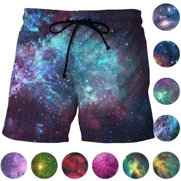 Dream Galaxy Space Board Shorts Mesh Short Pants Harajuku 3D Starry Night Stars Beach Shorts Quick Dry Mens Sports Shorts Trunks