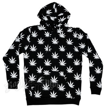 Marijuana Leaves Allover Black Hoodie - Men's