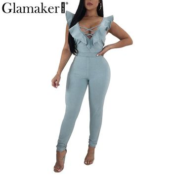 Glamaker Ruffle lace up women jumpsuit Summer hollow out v neck sexy jumpsuit overalls Bodycon denim jumpsuits&rompers playsuit