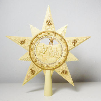 Vintage Christmas Tree Topper Large Star Beige Gold Accent Cut Out Retro Bohemian Religious Wise Men 1983 Signed Enesco Imports Vinyl