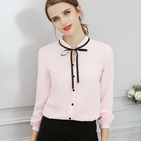 New Spring Tops Office Ladies Blouse Fashion Long Sleeve Bow Slim White Shirt Female Cute Bodycon Work Blouses Blusas