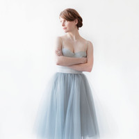 "Gretta Tulle Skirt - Dusty Blue - 30"" Length"