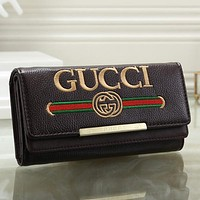 GUCCI Women Leather Fashion Embroidery Purse Wallet