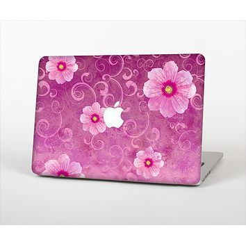 The Pink Vintage Flowers with Swirls Skin Set for the Apple MacBook Pro 13""