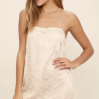 Affectionately Yours Beige Lace Mini Dress