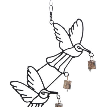 Metal Bird Wind Chime With Curvy Base
