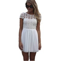 Kamaco Womens Fashion Floral Lace Chiffon Splice Party Cute Summer Mini Dress