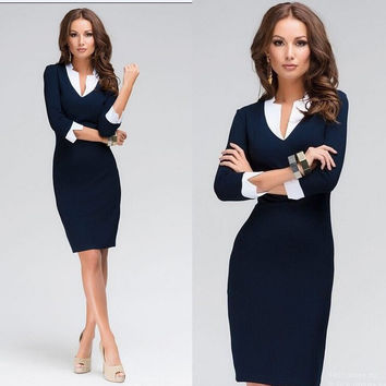 2016 hot new fashion Women dress slim dress vestidos femininos Women's Clothing V-neck dress