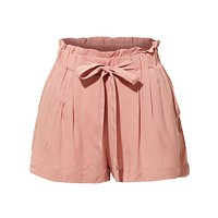 Stretchy High Waisted Paperbag Solid Short Pants