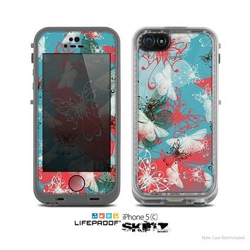 The Blue & Coral Abstract Butterfly Sprout Skin for the Apple iPhone 5c LifeProof Case