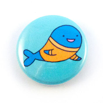 Whale Wearing a Sweater Button