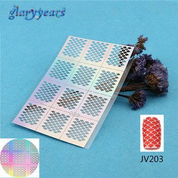 PEAPGB2 2016 1PC Nail Stencil Nail Sticker Ultra Thin Hollow DIY Pattern Fish Scale Manicure Nail Art Template Tools JV203 Decal Sticker