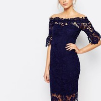 Paper Dolls Off Shoulder Crochet Dress With Frill Sleeve at asos.com