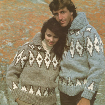 White Buffalo Pattern #6728.  Cowichan Salish style sweater, Wool cardigan, Adult, Native Canadian, hippy, West coast, stranded his and hers