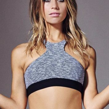 Herringbone High Neck Sport Bra