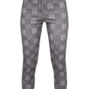 Black Check Peg Leg Trousers
