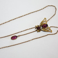 Art Deco Necklace GF Amethyst  1920s Jewelry Lariat Art Nouveau