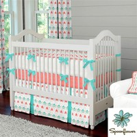 Coral and Teal Arrow Crib Bedding