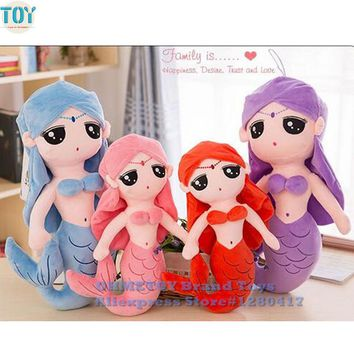 OHMETOY Kawaii Princess Mermaid Plush Stuffed Dolls Toys For Girls Children Pillow Kids Cushion/Cojines Gift With PP cotton