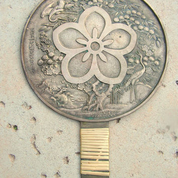 Antique Silverplated Bronze Japanese Hand Mirror Relief Design Cranes Flowers Tree Signed