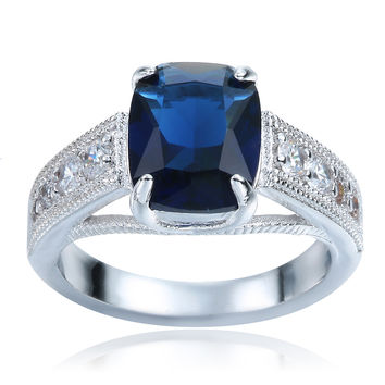DOULAIMEI Real 925 Sterling Silver Extravagant Dark Blue Created Crystal Lover's Wedding Bridal Men's Square Ring Fine Jewelry