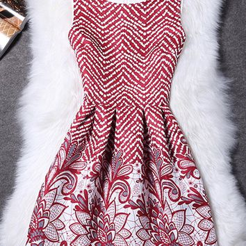 Streetstyle  Casual Round Neck Printed Zigzag Striped Sleeveless Skater Dress
