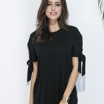 Black Tied Short Sleeve Shift Dress
