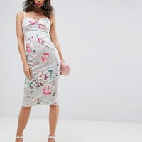 ASOS Crop Top Overlayer Floral Hitchcock Pencil Midi Dress at asos.com
