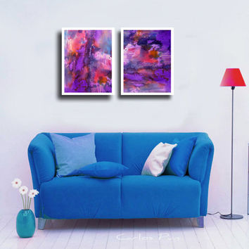 PURPLE Wall decor - Abstract Large Art Prints, 2 Piece Watercolor Landscape Paintings,  Wall and Home decor